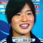 西田明華選手の前歯の画像(歯列矯正中)